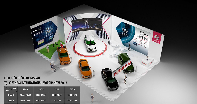 Gian hàng có diện tích tổng thể gần 300m2 với 4 mẫu xe Nissan gồm Navara,  Teana, Sunny, 2 phiên bản từ mẫu Crossover X-Trail hoàn toàn mới là X-Trail  2.5 SV ...