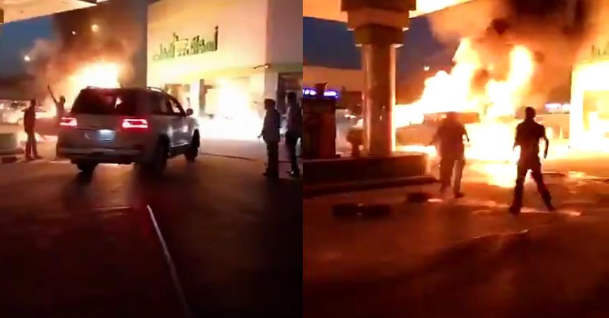 Tài xế Land Cruiser đẩy ôtô đang cháy dữ dội ra xa trạm xăng