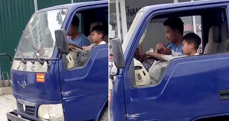 Video: Bé trai lái xe tải chở bố giữa đường phố Thanh Hoá