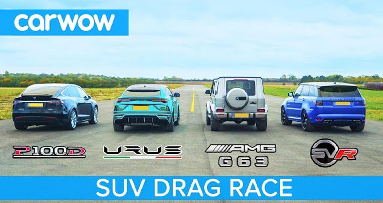 Lamborghini Urus đua nước rút cùng Tesla Model X, G63 và Sport SVR