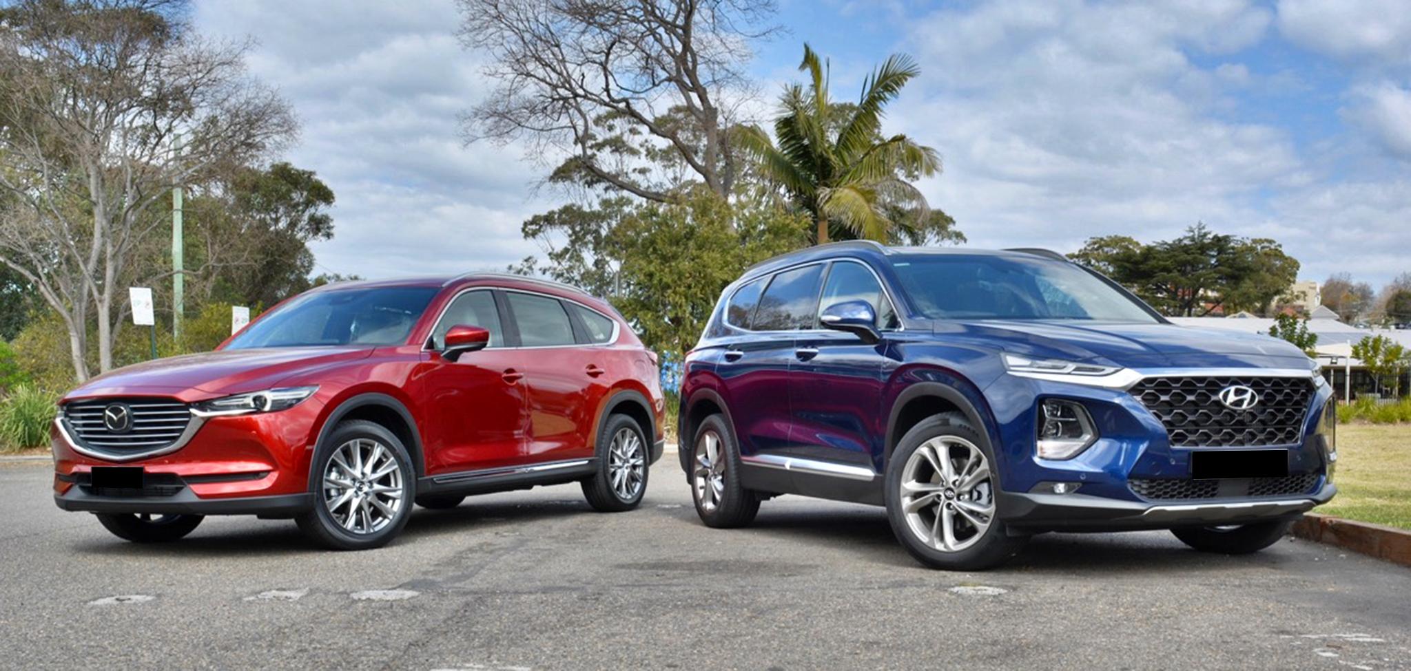 So sánh nhanh Mazda CX-8 và Hyundai Santa Fe 2019
