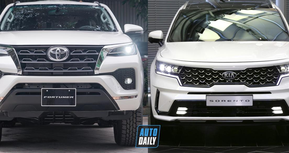 So sánh giá lăn bánh của Toyota Fortuner và Kia Sorento 2021