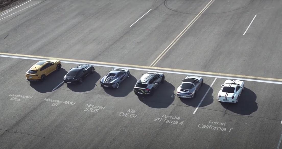 """Kia EV6 """"ăn"""" loạt siêu xe trong cuộc đua nước rút"""