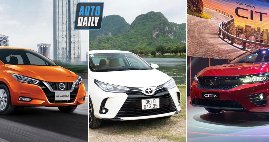 So sánh giá lăn bánh của Nissan Almera 2021 với Toyota Vios 2021 và Honda City 2021