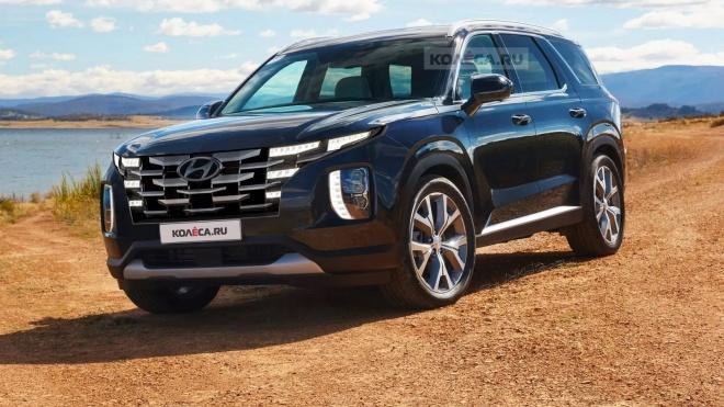 Ảnh phác họa thiết kế Hyundai Palisade nâng cấp lấy cảm hứng từ Tucson