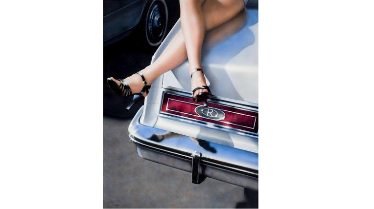 Những bức họa về phụ nữ và xe hơi