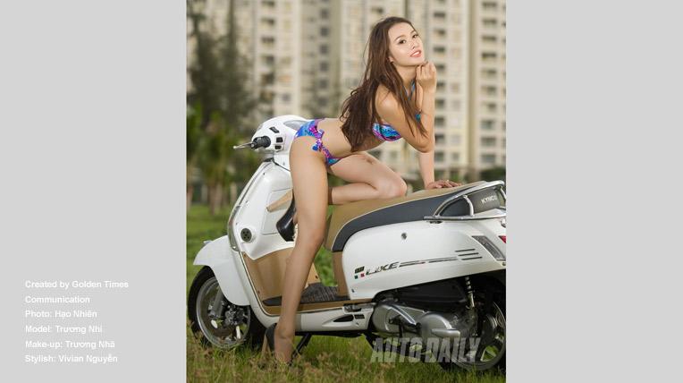 Trương Nhi khoe thân hình nóng bỏng bên Kymco Like FI