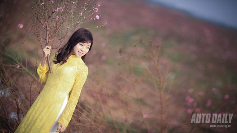 Thiếu nữ e ấp bên hoa đào